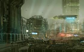 Картинка город, будущее, фантастика, башня, корабли, арт, мегаполис