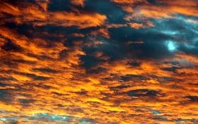 Картинка закат, облака, синий, оранжевый, небо
