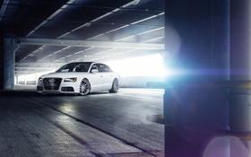Обои Audi, парковка, white, блик, front, A8 L