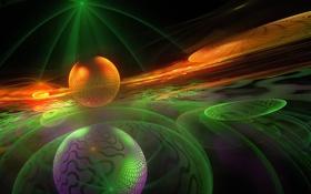 Обои линии, шар, объем, цвет, свет