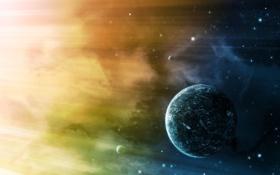 Картинка пространство, планета, звёзды, галактика, космическое