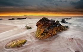 Обои камни, пляж, горизонт, жёлтый, море