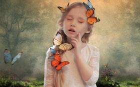 Картинка лес, трава, бабочки, цветы, поляна, рисунок, девочка