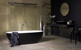 Картинка дизайн, черный, камень, интерьер, ванна, ванная комната