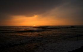 Картинка море, волны, пляж, закат, горизонт