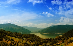 Обои landscape, пейзаж, nature, трава, небо, water, mountains