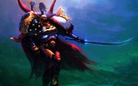 Обои лошадь, камень, броня, Warhammer 40K, воин, Силовая Броня, Jaghatai Khan
