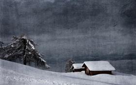 Картинка зима, горы, дерево, текстура, Альпы, Италия, хижина