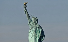 Обои статуя, statue of liberty, город, свобода, new york city