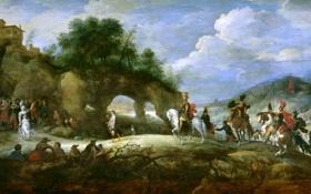 Обои жанровая, Питер Брейгель младший, мифология, картина, Триумф Давида