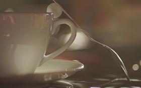 Обои завтрак, чайник, ложка, чашка, заварник