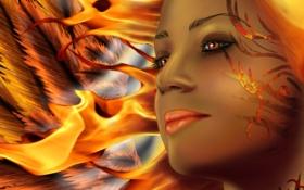 Обои глаза, взгляд, девушка, лицо, фантастика, огонь, узор