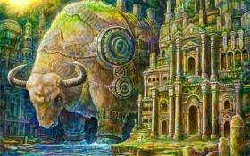 Обои город, река, механизм, арт, гигантский, буйвол, kemi neko