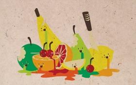 Обои бумага, убийство, арт, фрукты, fun