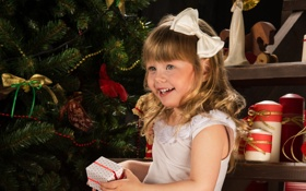 Обои улыбка, праздник, коробка, подарок, елка, новый год, девочка