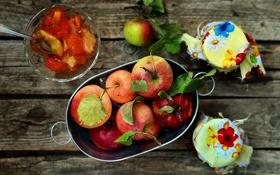 Обои осень, яблоки, урожай, баночки, фрукты, джем, варенье