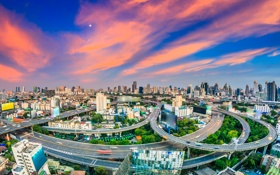 Обои небо, облака, дороги, дома, панорама, Таиланд, зарево