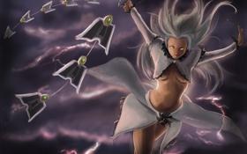 Обои девушка, оружие, молнии, арт, белые волосы, нить, league of legends