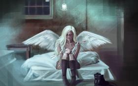Картинка стрела, фантастика, сидит, ботинки, комната. свет, девушка, ангел