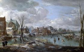 Картинка река, лёд, картина, городок