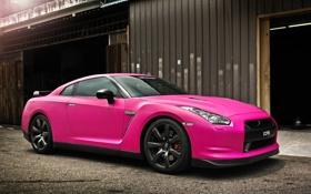 Обои авто, розовый, Pink, ниссан, Nissan GTR