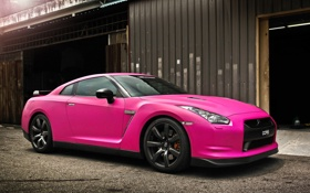 Картинка авто, розовый, Pink, ниссан, Nissan GTR