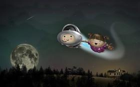 Обои полет, космонавт, девочка