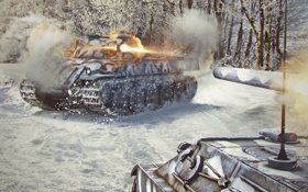 Обои снег, выстрел, танк, танки, WoT, Мир танков, tank