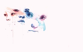 Обои глаза, акварель, живопись, marion bolognesi