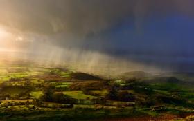 Картинка небо, свет, тучи, дождь, поля, Англия, долина