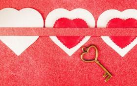 Обои картон, сердца, ключ
