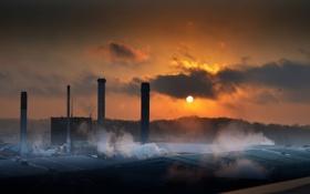 Картинка пейзаж, ночь, трубы, завод