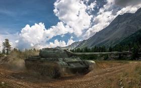 Картинка пыль, танк, USSR, СССР, танки, Т-54, WoT