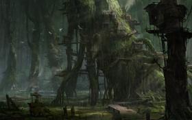 Обои лес, птицы, дерево, арт, хижины