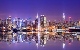 Обои lights, USA, ночной город, Манхэттен, Нью Йорк, небоскрёбы, skyline