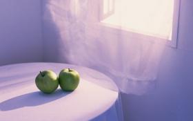 Обои зелёные, яблоки, скатерть, стол, разное, комната