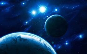 Картинка созвездия, атмосфера, звезды, блеск, кольца, планеты, луна