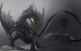 Обои черно-белый, дракон, рисунок, пасть, монохромный