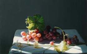 Картинка свет, ягоды, стол, тень, картина, арт, виноград
