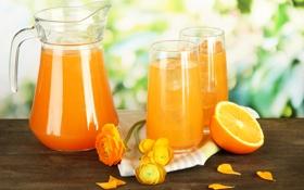 Картинка цветы, салфетка, апельсиновый сок