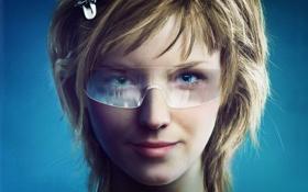 Обои девушка, лицо, обои, рисунок, очки