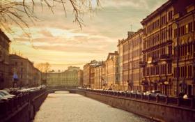 Обои осень, река, здания, дома, канал, Russia, питер