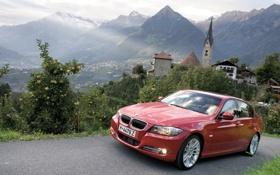 Обои пейзаж, горы, красный, дерево, бмв, дома, BMW