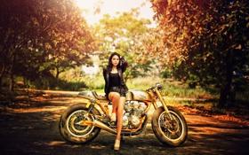 Картинка девушка, мотоцикл, Honda
