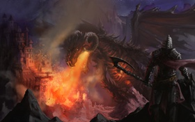 Картинка взгляд, ночь, фантастика, огонь, дракон, человек, меч