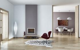 Картинка стол, комната, стулья, картина, кресло, дверь, коврик