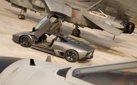 Картинка Lamborghini, истребитель, reventon, открытые двери, Ламборгини, ламбо двери, Ревентон