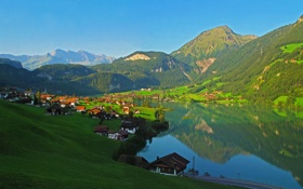 Картинка пейзаж, горы, город, Швейцария, Lungern