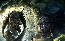 Картинка скалы, пещера, динозавр, арт, летучие мыши, дракон