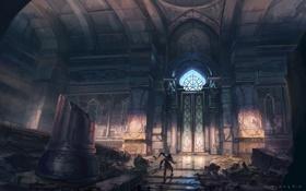 Картинка человек, дверь, нож, колонны, руины, prince of persia, дворец